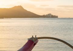 Sunrise over diamond head from waikiki hawaii Stock Photos