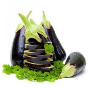 aubergines isolated - stock photo