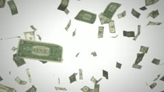 Passing us dollars on white Stock Footage