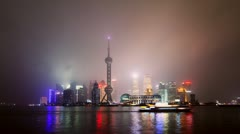 Time lapse of Shanghai skyline in drizzle night Stock Footage