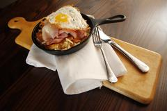 Breakfast meal in an iron skillet Stock Photos