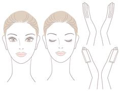 Set of Beautiful woman  head and hands - stock illustration