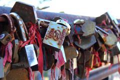 locks on railing - stock photo