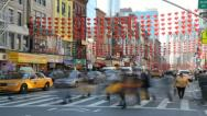 Chinatown people walking time-lapse Stock Footage