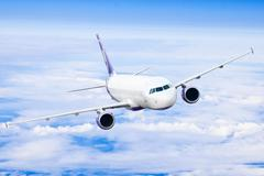 Airplane in the sky - passenger airliner / aircraft. airplane on blue sky. ai Stock Illustration