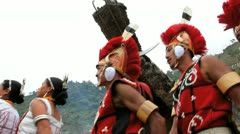 Chang tribesmen, Nagaland, India Stock Footage