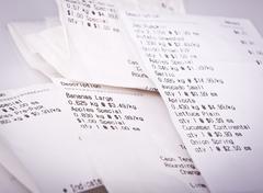 Grocery receipts Stock Photos