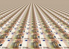 Many Fifty Euro Bills Stock Illustration