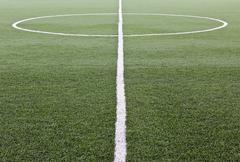artificial grass soccer field - stock photo