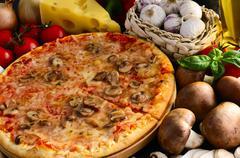 Mushroom pizza Stock Photos