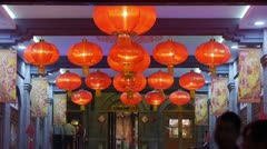 Red lanterns tassel at night,elements of East,china new year. - stock footage