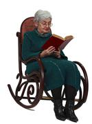 Old woman reading - stock photo