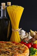 pizza, pasta and ingredients - stock photo