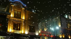 China style building in night,falling snowflake. Stock Footage