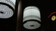 Retro europe belfry & birdcage style street lights at night. Stock Footage