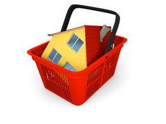 model of house in shopping basket - stock illustration