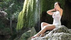 Beautiful woman on nature - stock footage