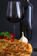 Stock Photo of pizza and wine