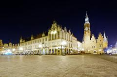 old and new city hall in wroclaw - stock photo