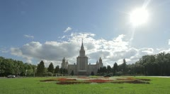 College and Universities of Russia. Moscow State University in dolly motion Stock Footage