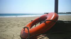 Life buoy at the beach Stock Footage