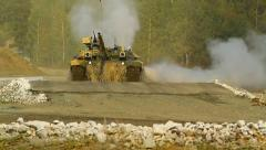 Technology of the Russian military industry.Tank T-90 dives into the water Stock Footage
