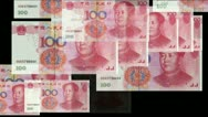 Stock Video Footage of Float looming 100 RMB bills.