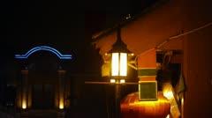 hazy streetlight at night. - stock footage