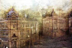 various aged buildings as an old paper background - stock illustration