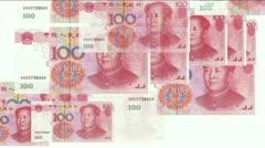 Stock Video Footage of Float looming 100 RMB bills.