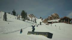 Snowboarding on box Stock Footage
