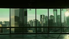 View modern architecture from building window in Beijing,sun. Stock Footage