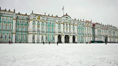 Hermitage museum on Dvortsovaya square, St. Petersburg, Russia Stock Footage