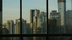 Stock Video Footage of view modern urban high-rise from windows,Beijing business financial center.
