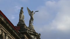 Statues atop the Costa Rican National Theater - stock footage