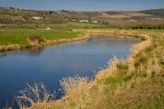 River Axe in Somerset England - stock photo