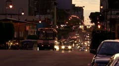 Early evening traffic in downtown San Jose, Costa Rica Stock Footage