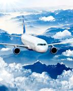 airplane in the sky - passenger airliner / aircraft. airplane on blue sky. ai - stock photo