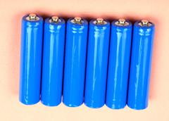 Six electric battery Stock Photos