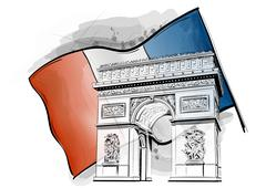 arch of triumph - stock illustration