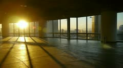View modern urban from building window,escape layer,sun pass through window. Stock Footage
