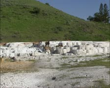 Wapiti deer relax on travertine terrace, Mammoth Hot Springs - stock footage