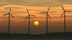 Wind Turbines seamless looping Stock Footage