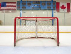 Hockey net with scoreboard Stock Photos