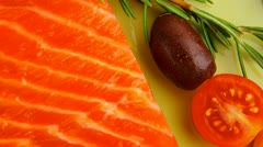 Smoked salmon fillet and tomatoes Stock Footage