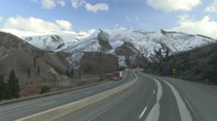 Freeway driving, Mountain highway Stock Footage