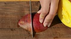 Woman hand slice ripe ecologic mango fruit knife wooden board Stock Footage