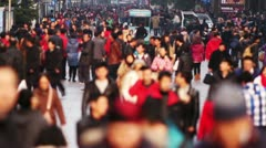Busy Crowds Traffic on Nanjing Road Slow Motion Stock Footage