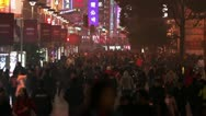 Stock Video Footage of Busy Night Crowds Traffic on Nanjing Road