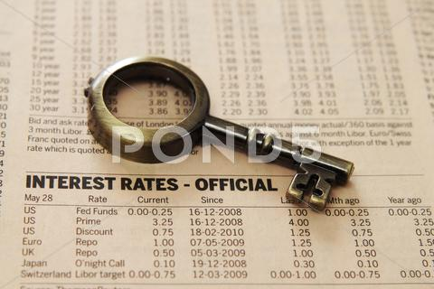Stock photo of report - interest rates